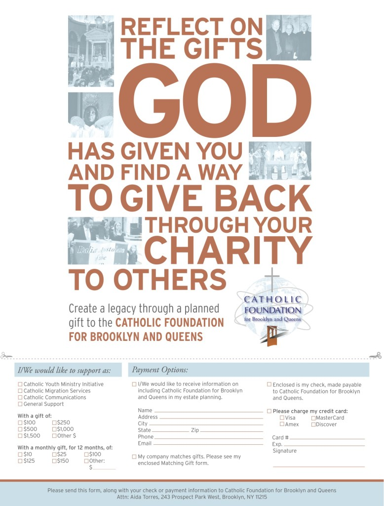 Catholic Foundation donation slip