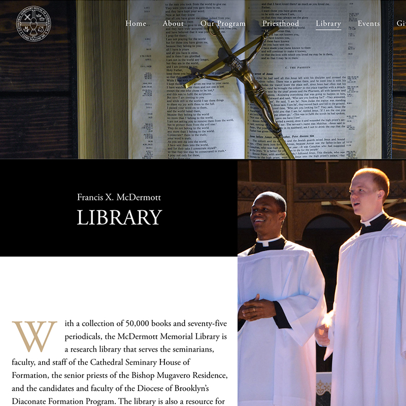 Info about the library at the Catherdral Seminary, Two Seminarians, a bible open with a crusifix resting on it