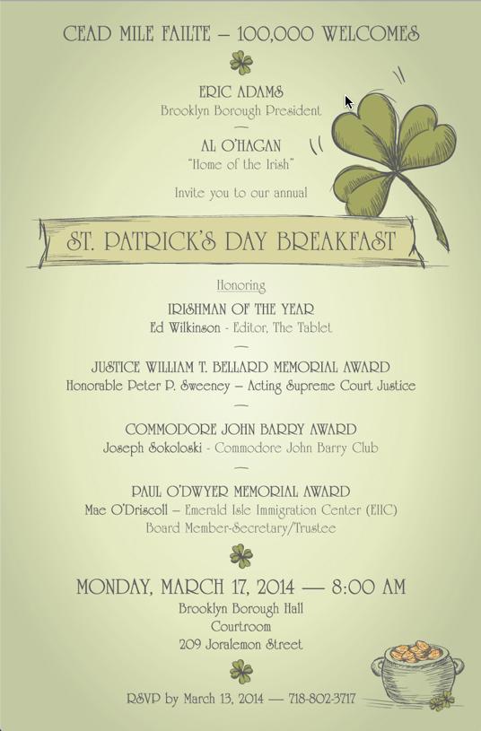 Irishman of the Year invitation