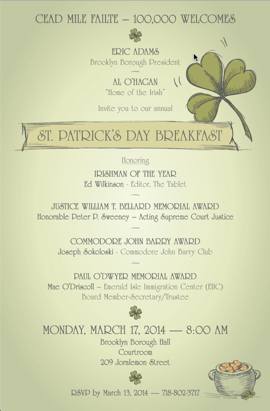 St Patrick's Day Breakfast Agenda