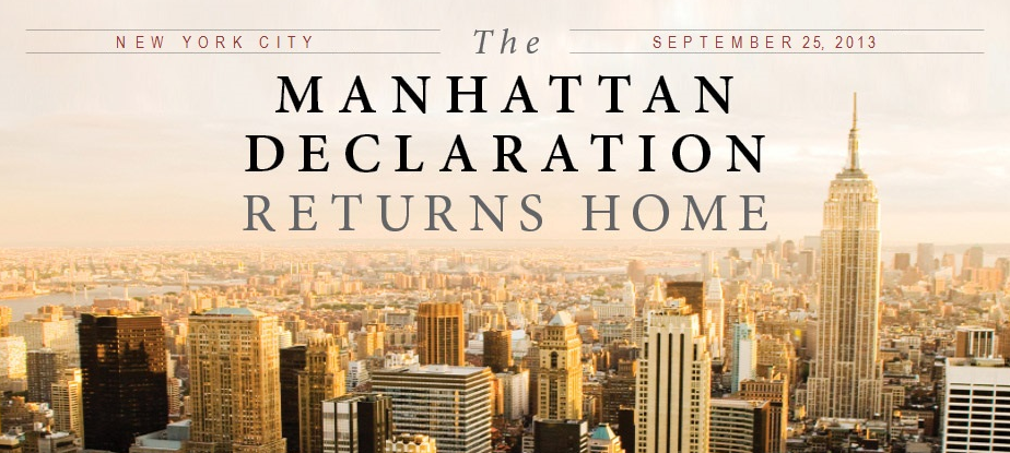 Manhattan Declaration on skyline