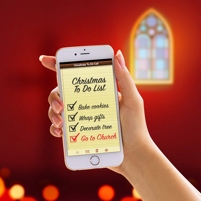 Cell Phone with a christmes list