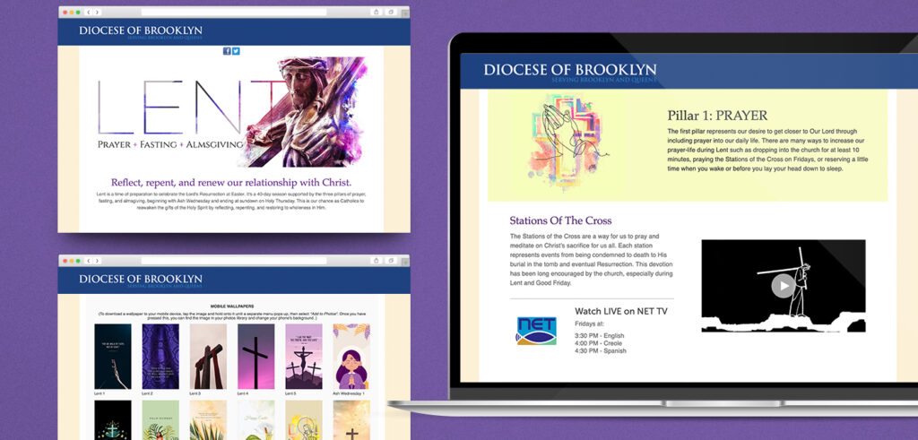 Visuals of the Lent 2021 Landing Page